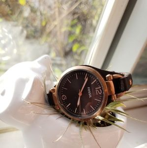 Rose Gold and Brown Leather Fossil Watch